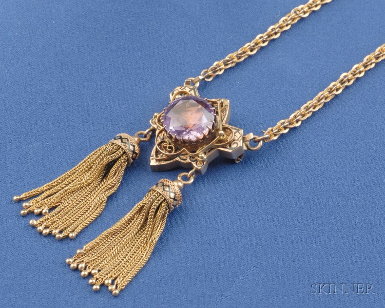 Victorian 14kt Gold and Amethyst Pendant Necklace