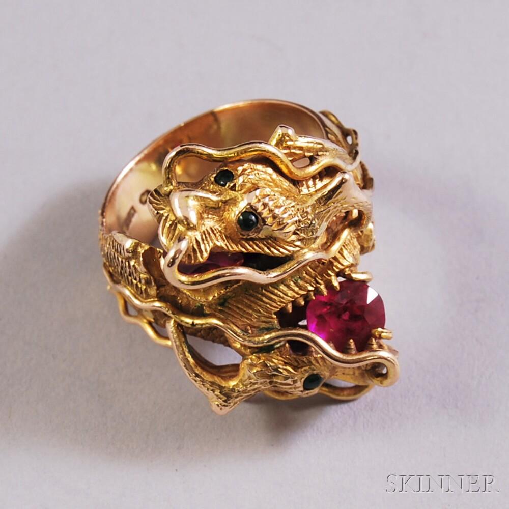 Heavy 14kt Gold Gem-set Dragon Ring
