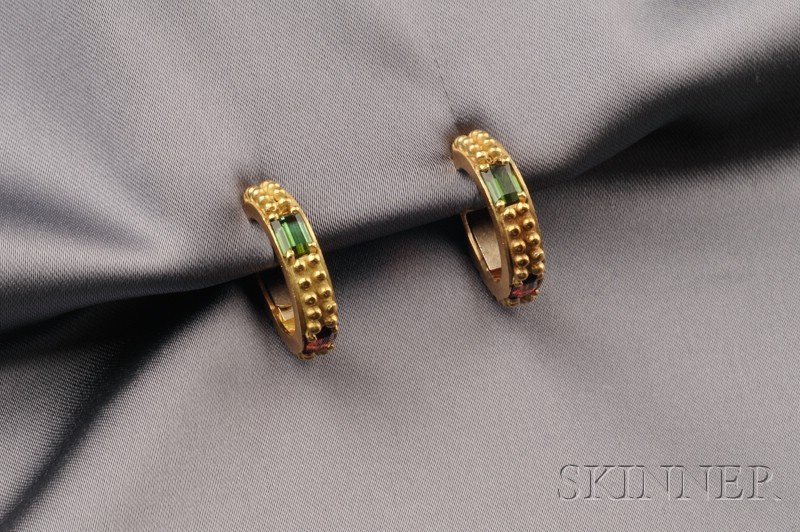 18kt Gold and Multicolor Tourmaline Earrings, Barry Kieselstein-Cord