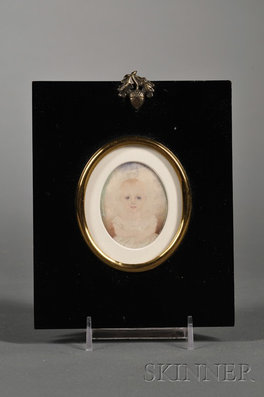 Portrait Miniature of a Baby in a Lacy White Dress   by Mrs. Moses B. Russell [Clarissa Peters], (Massachusetts, 1809-1854)