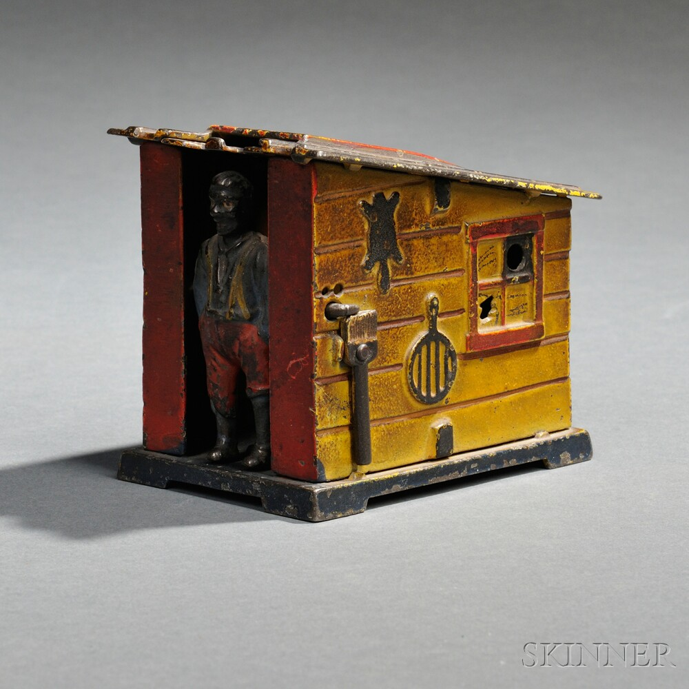 "Painted Cast Iron Mechanical ""Cabin"" Bank"