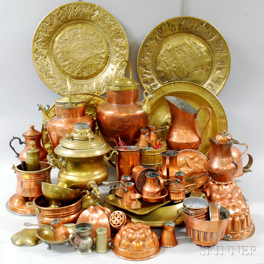 Large Group of Copper and Brass Domestic Items