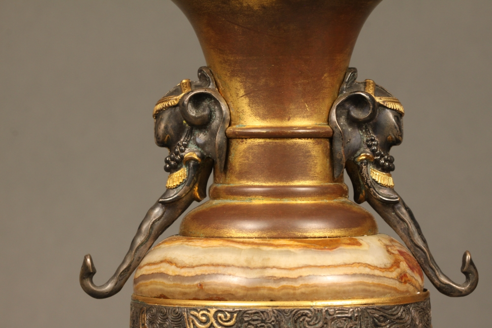 French Bronze and Marble Oriental Clock Garniture Set
