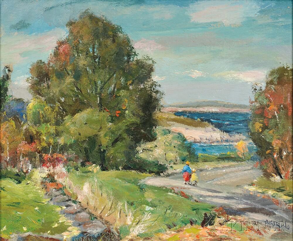 Antonio Cirino (American, 1889-1983)      Coastal View with Figures on a Path