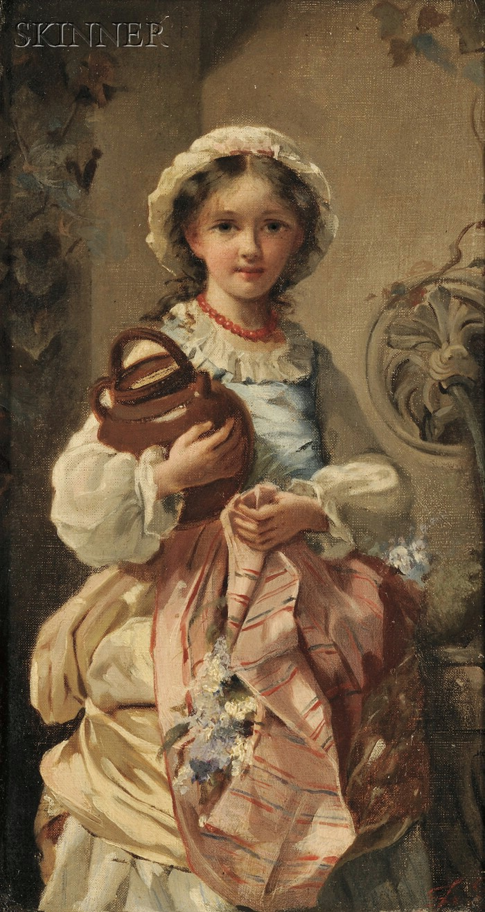 Continental School, 19th Century      Portrait of a Girl Holding a Jug