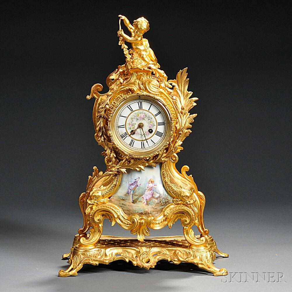 French Rococo-style Shelf Clock