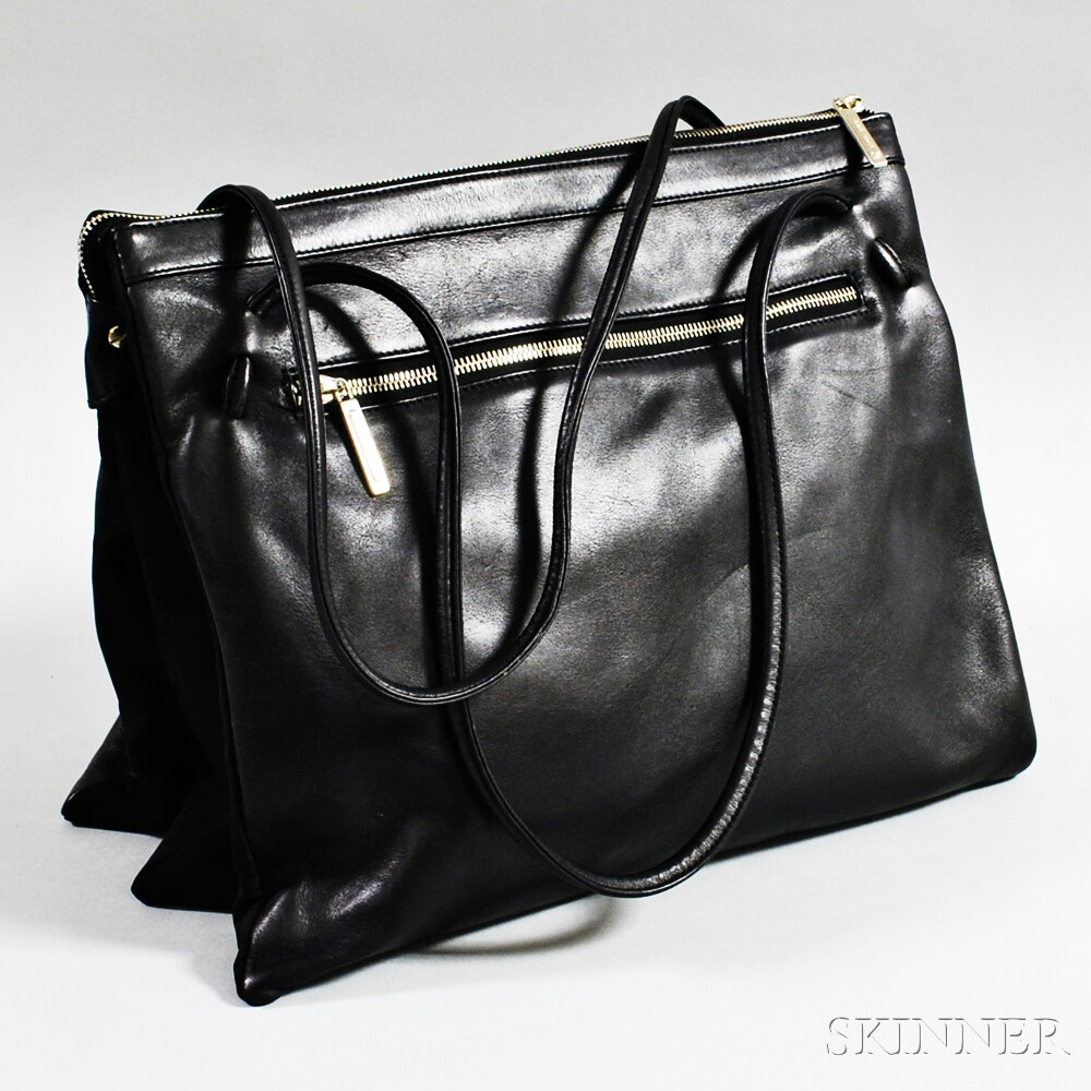 "Armani Black Leather ""Milan"" Tote Bag"