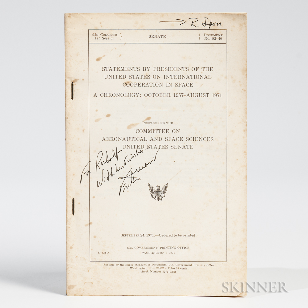 Durant, Frederick III (1916-2015) Statements by Presidents of the U.S. on International Cooperation in Space, Signed and Notated Copy.
