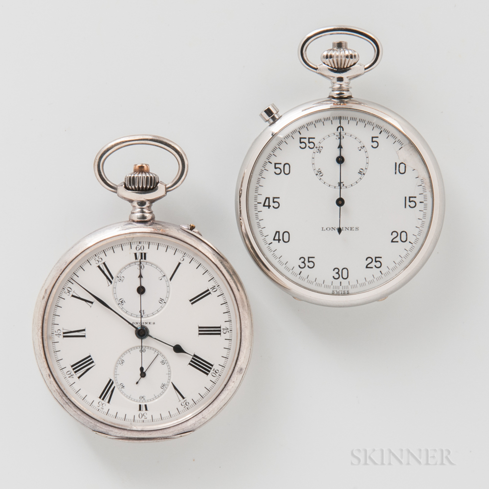 Longines Open-face Instantaneous Minute Pocket Chronograph and a Pocket Timer