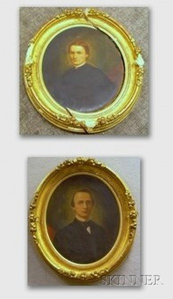 Pair of American School Oil on Canvas Portraits
