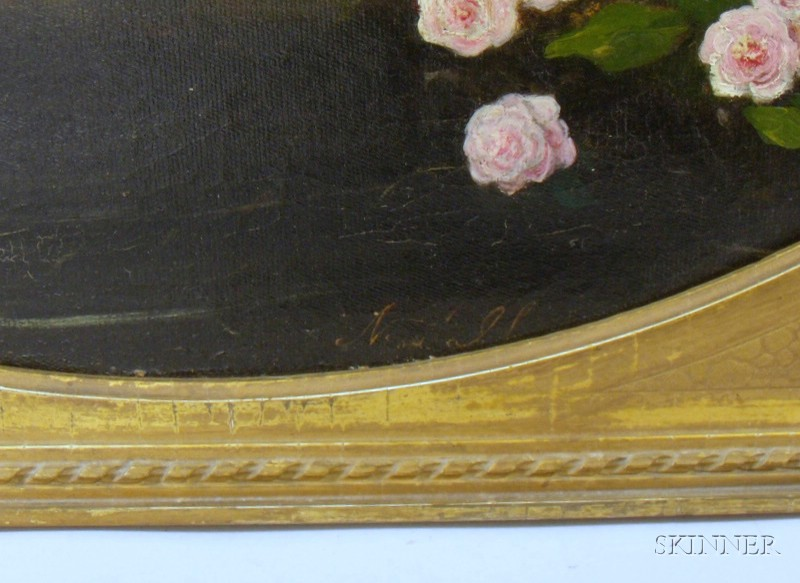 Framed 19th/20th Century American School Oil on Canvas Still Life with Grapes