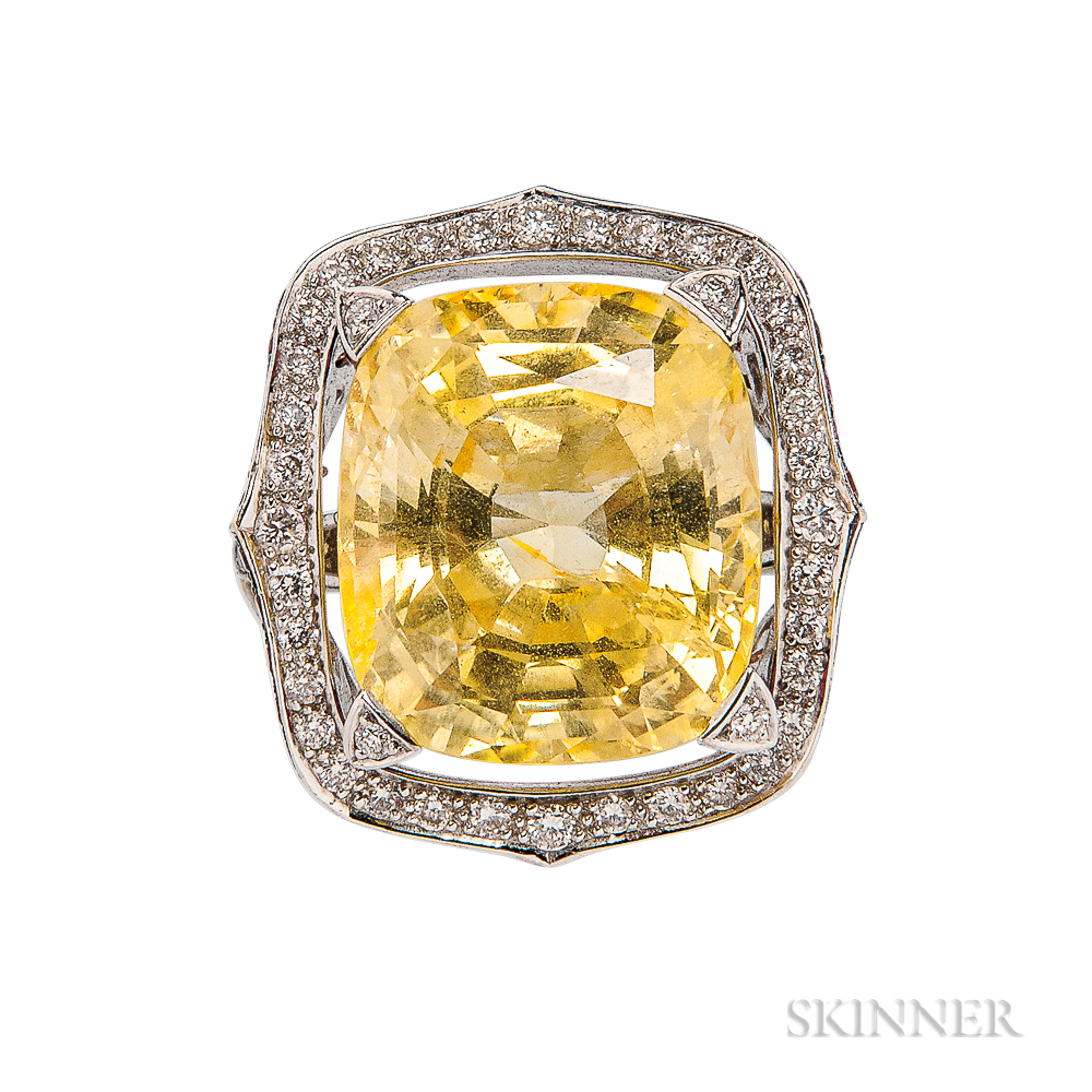 18kt White Gold, Yellow Sapphire, and Diamond Ring, Stephen Webster