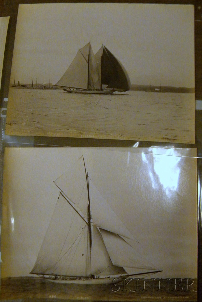 John S. Johnston (British/American, born c. 1839-1899)      Lot of Five Yachting Images: Colonia ,  Columbia