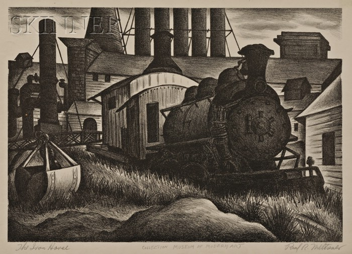 Paul Raphael Meltsner (American, 1905-1966) Lot of Four Industrial and Train Yard Views: Tank Cars, Excavation, The Iron Horse, and ...