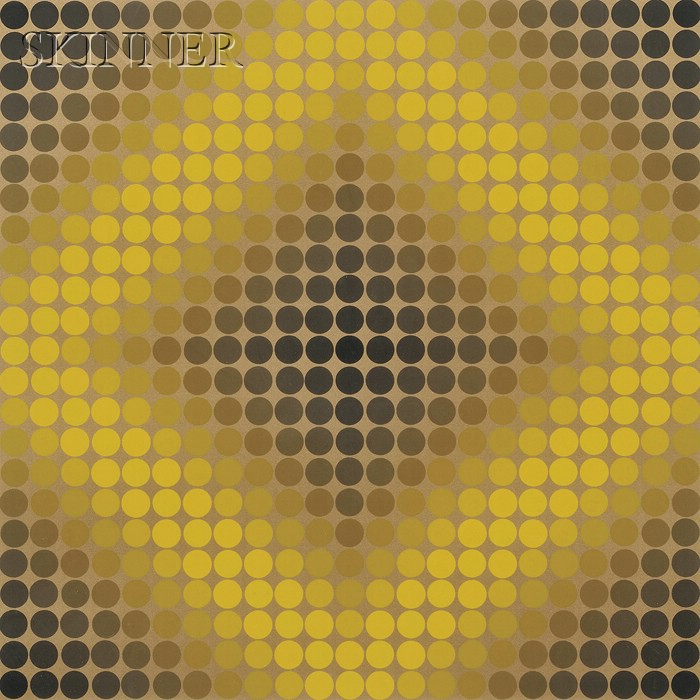 Victor Vasarely (French/Hungarian, 1906-1997)      Untitled (Gold Diamond)