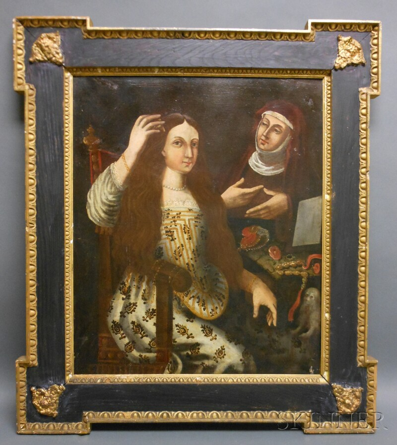 Spanish or Spanish Colonial School, 18th Century Style      Portrait of a Lady and Her Maid