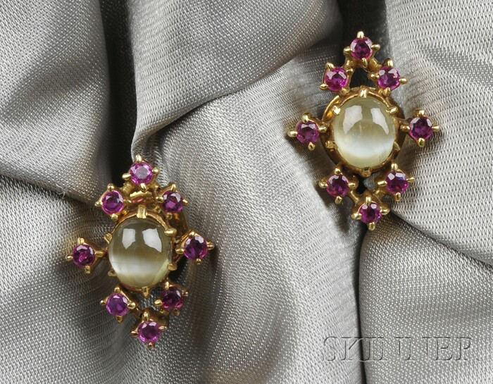 14kt Gold, Cat's Eye Chrysoberyl, and Ruby Earstuds