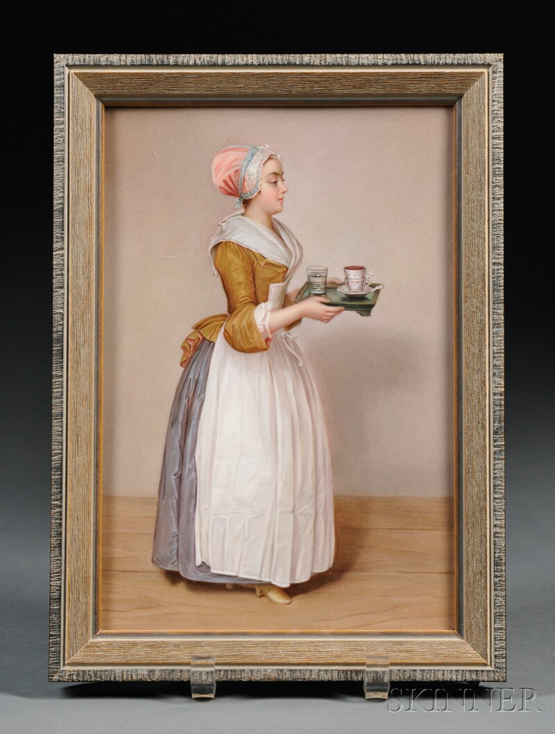 Meissen Hand-painted Porcelain Plaque of La Belle Chocolatiere