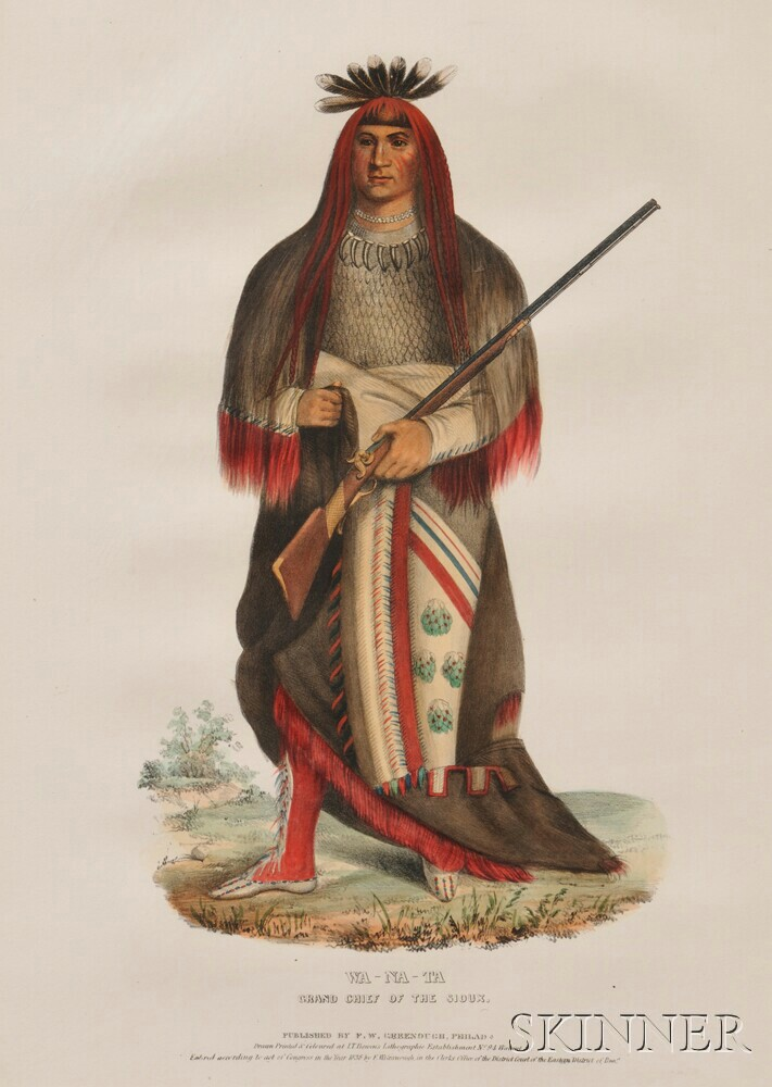 """McKenney and Hall Hand-colored Lithograph of """"Wa - Na - Ta,"""""""
