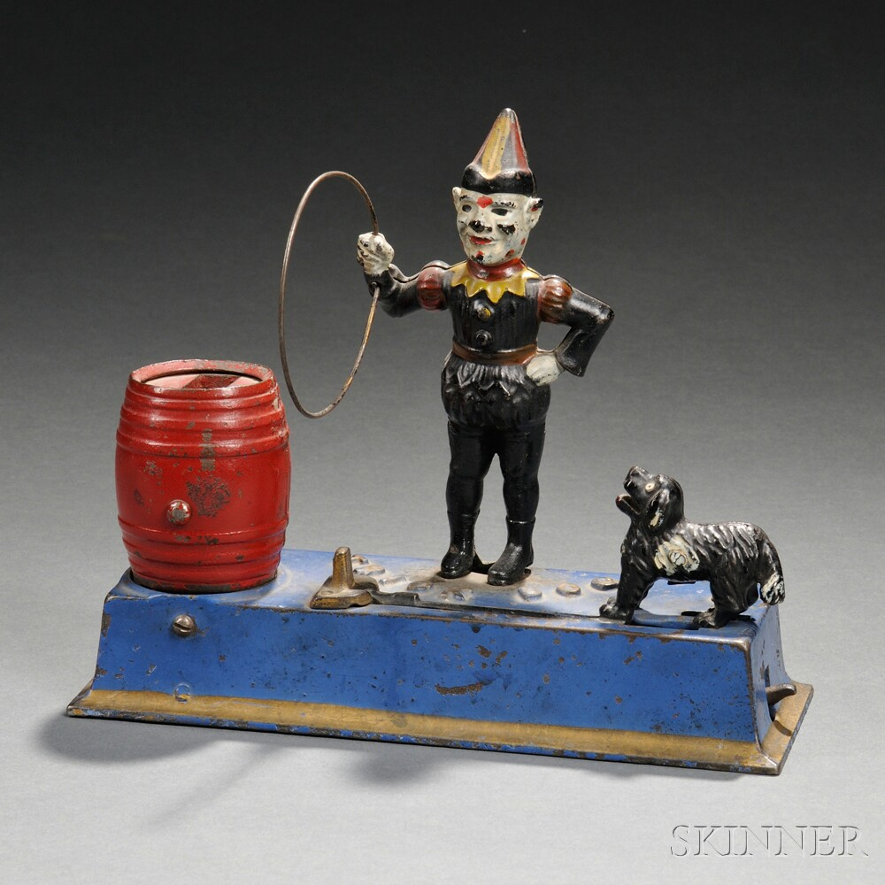 """Painted Cast Iron Mechanical """"Trick Dog"""" Bank"""