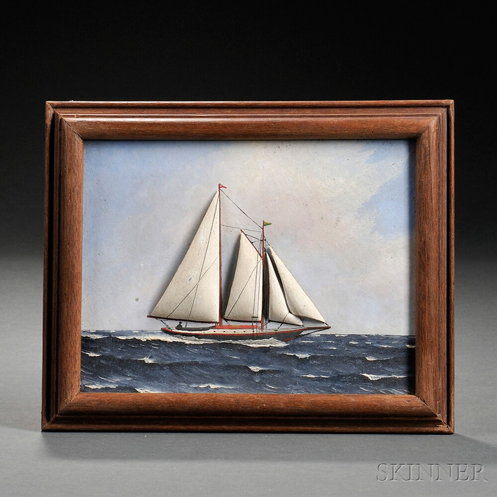 Painted and Carved Wood Diorama of the Windjammer