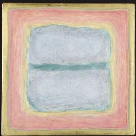 Marbet Maize Wolfson (American, 20th Century)  Om 3/Abstract in Pink, Gold, and Green