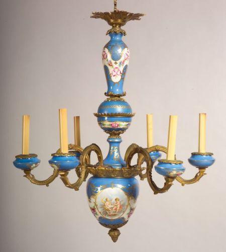 """Sevres"" Porcelain and Ormolu Mounted Six Light Chandelier"