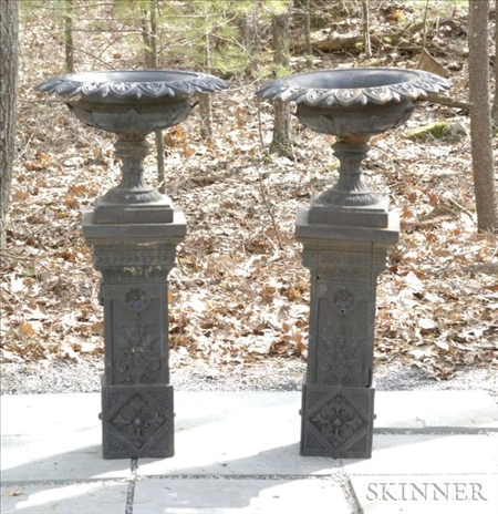 Pair of  Black Painted Cast Iron Urns