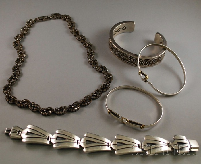 Five Sterling Silver Jewelry Items