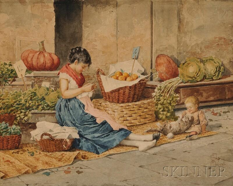 Albert Pierre Roberti (Belgian, 1811-1964)      The Vegetable Seller