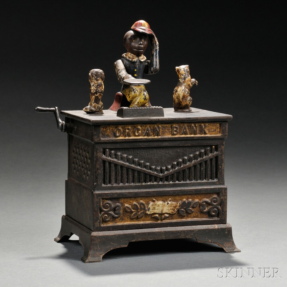 "Painted Cast Iron Mechanical Dog and Cat ""Organ Bank"" Bank"