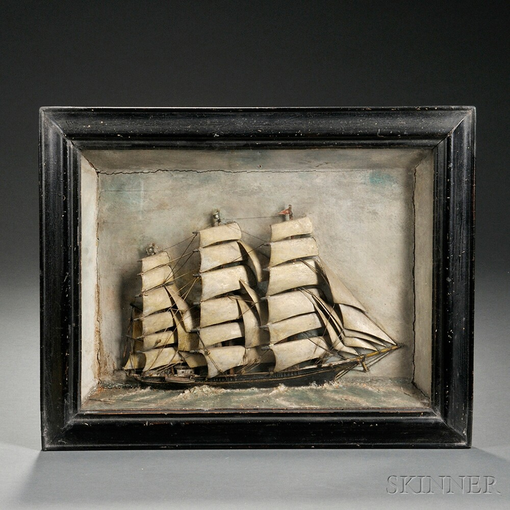 Carved and Painted Ship Diorama
