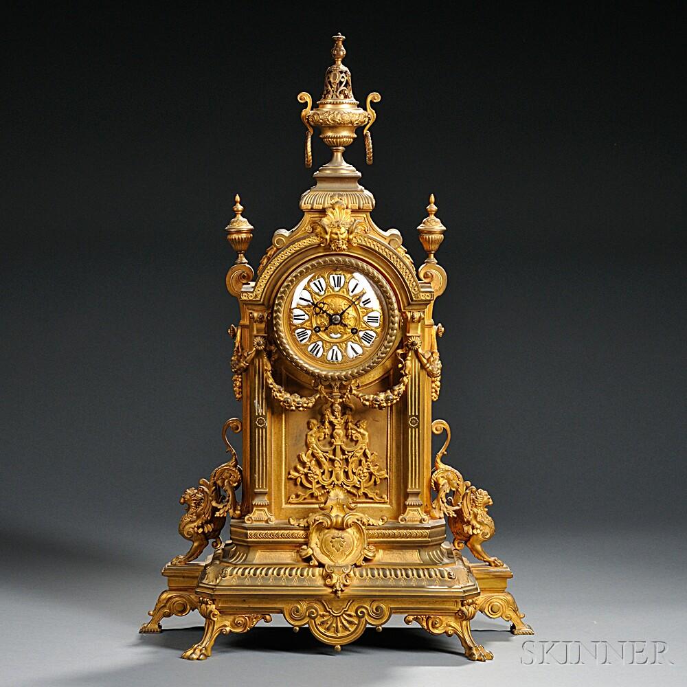 Gilt Bronze Renaissance Revival Mantel Clock