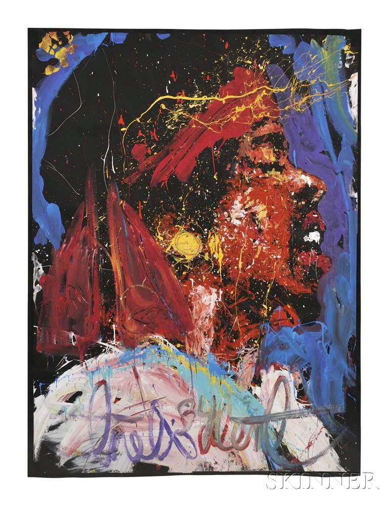 Denny Dent (American, 1948-2004)      Portrait of Jimi Hendrix