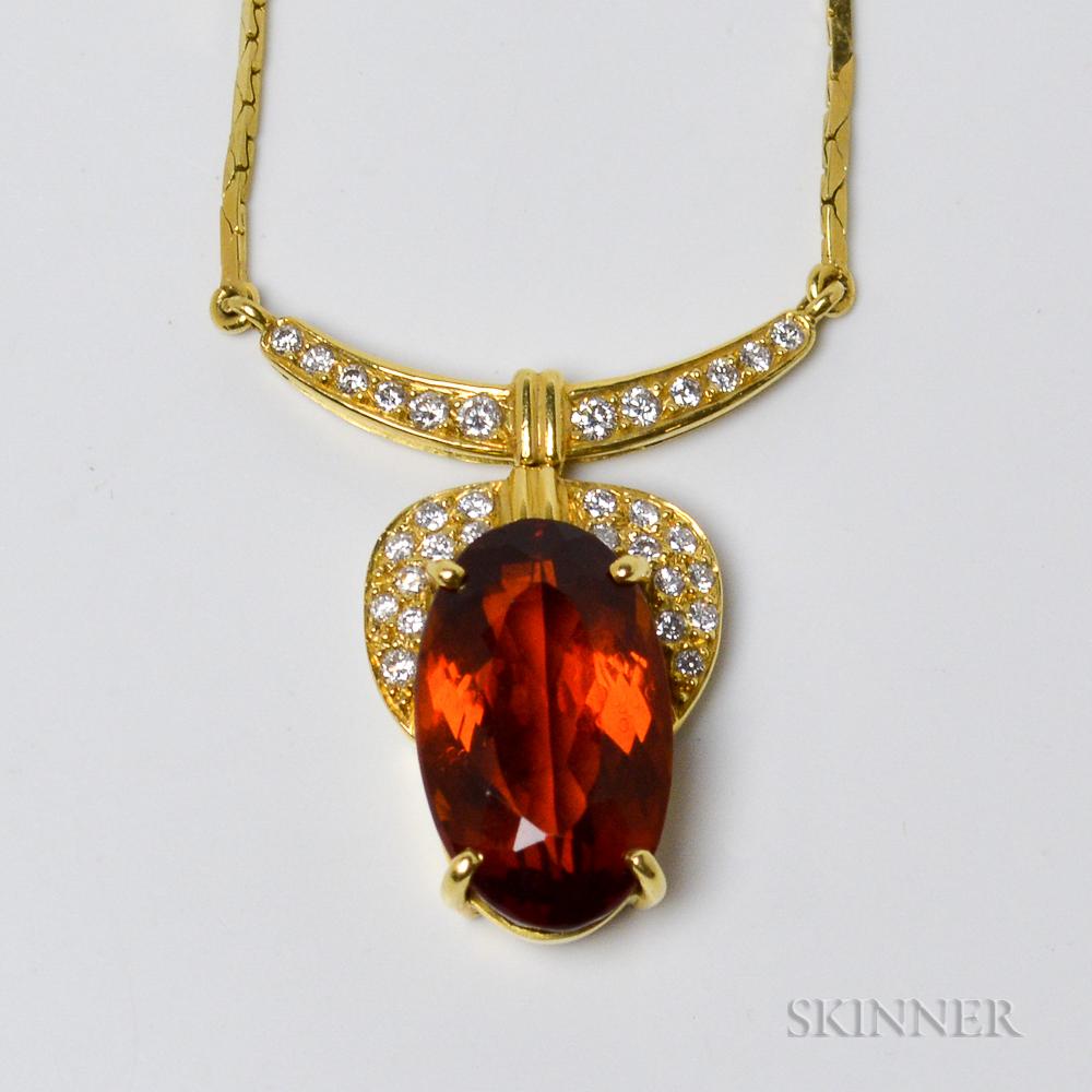 18kt Gold, Citrine, and Diamond Pendant