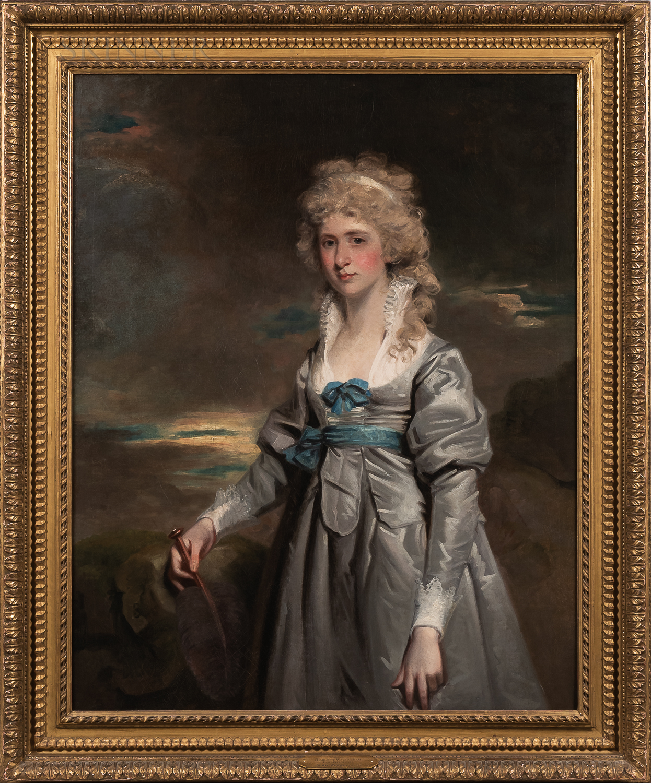 John Hoppner (British, 1758-1810)      Portrait of Charlotte Walsingham, Lady Fitzgerald, Three-quarter Length in a Gray Satin Dress
