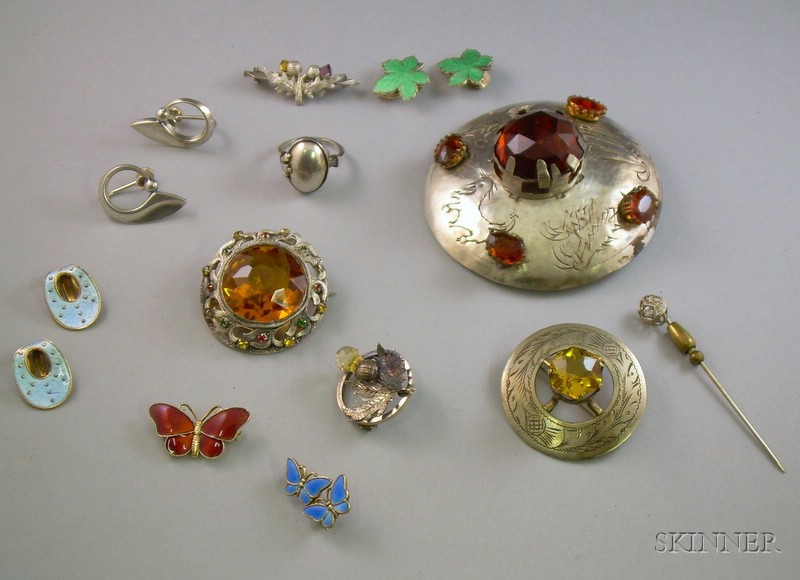 Group of Scandinavian Silver Jewelry, a Group of Scottish Silver Jewelry, and a 14kt Gold and Diamond   Stickpin