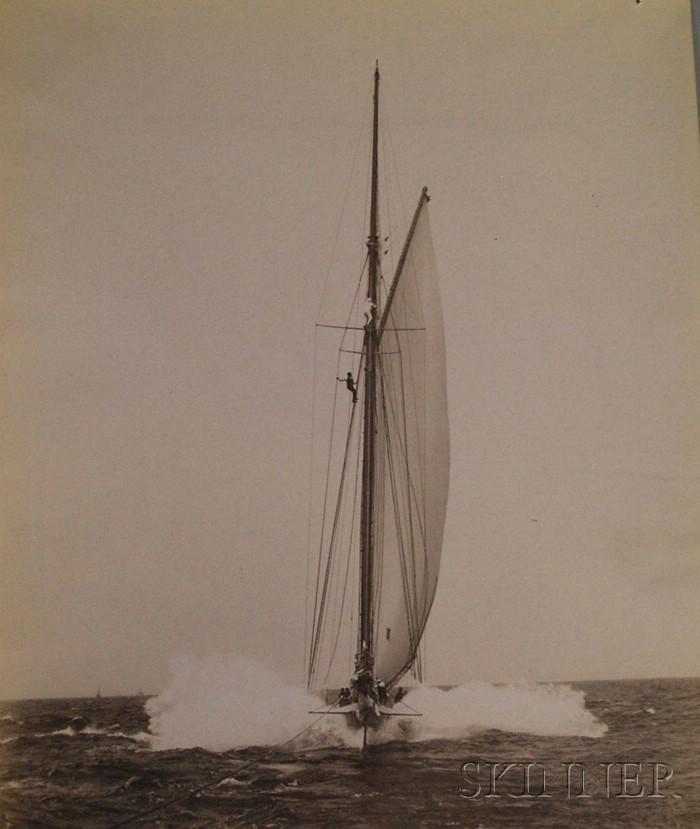 John S. Johnston (British/American, born c. 1839-1899)      Lot of Five Yachting Images: Jubilee, Romona, Ramona, Sayonara