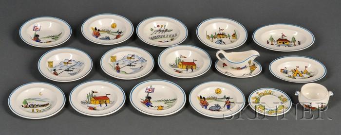 Fifteen Piece Wedgwood Queen's Ware Toy Dinner Wares