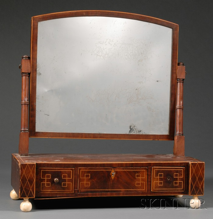 Regency Mahogany and Inlay Shaving Mirror