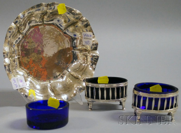 Sandona .800 Silver Dish and Pair of .800 Silver Salts with Cobalt Glass Inserts
