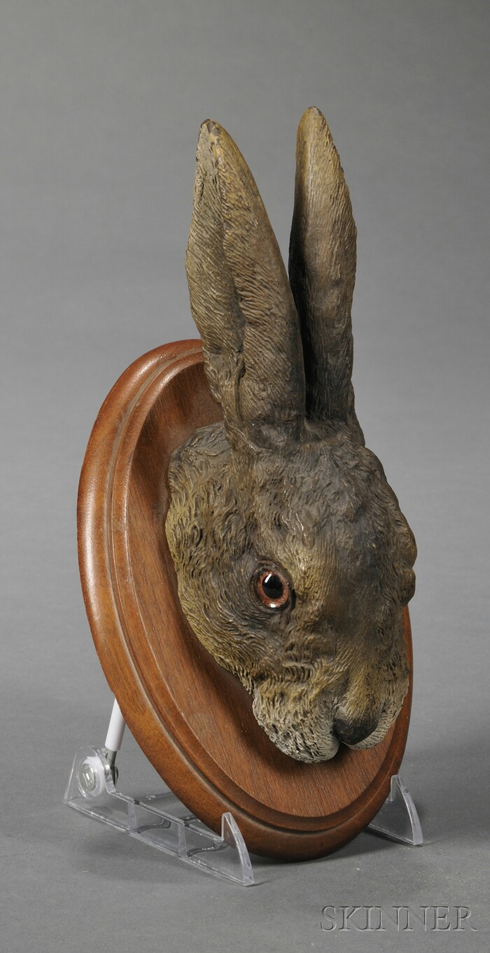 Austrian Cold-painted Bronze Bust of a Hare