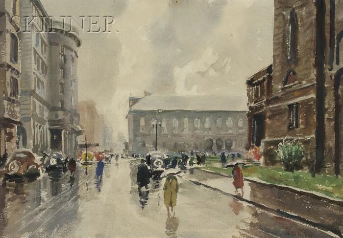 John Whorf  (American, 1903-1959)      Copley Square, Rain