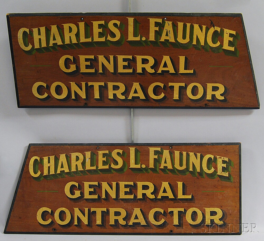 Pair of Painted and Gilt Trade Signs