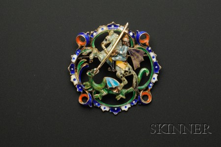 Silver and Polychrome Enamel Brooch