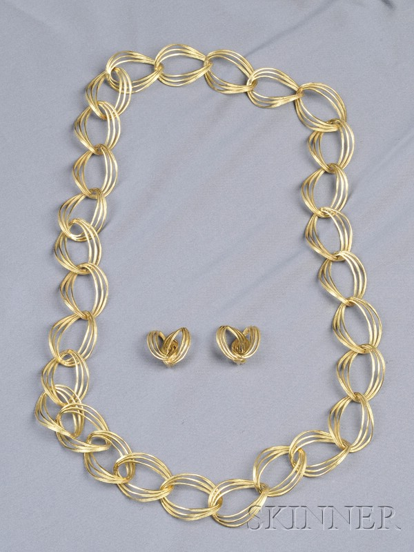 18kt Gold Necklace and Earclips