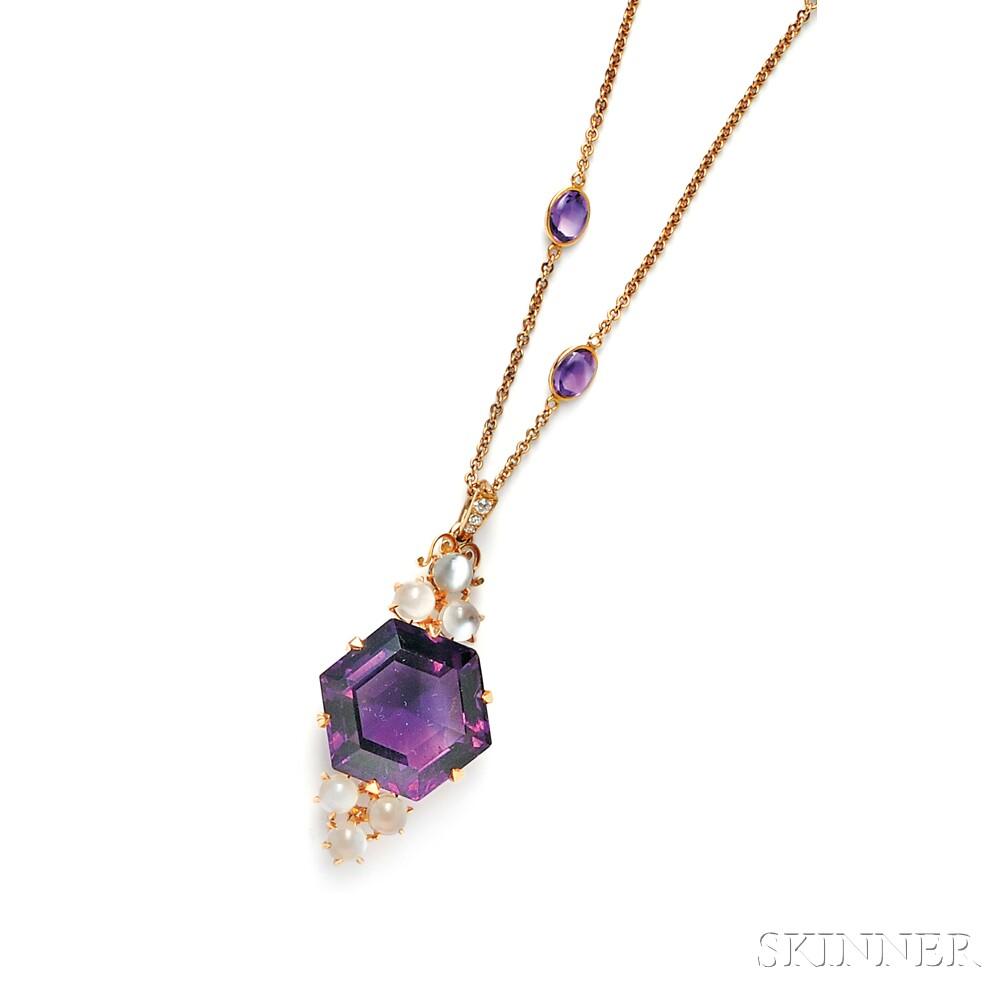 14kt Gold, Amethyst, and Cat's-eye Moonstone Pendant