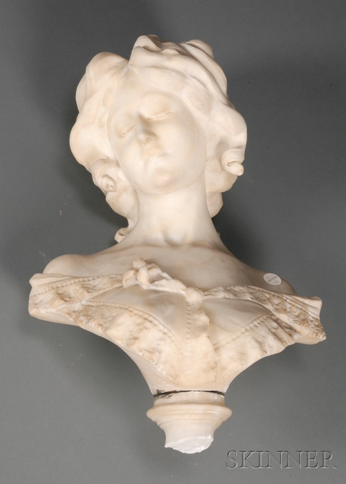 Italian Carved Alabaster Bust and Pedestal