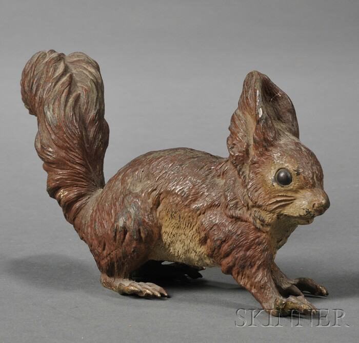 Austrian Cold-painted Bronze Figure of a Red Squirrel