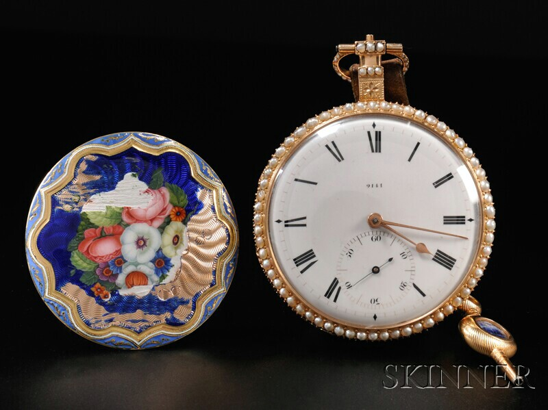 Sold for: $67,650 - Barrauds Enamel and Pearl-set Open Face Gold Watch